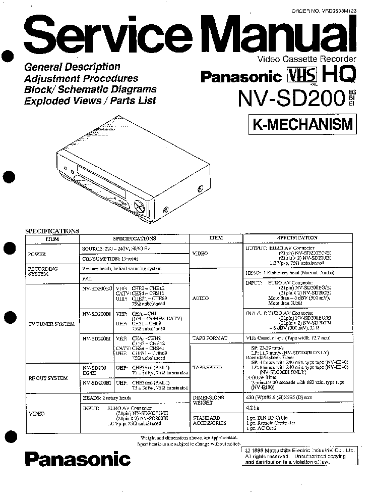 PANASONIC NV-SD200B SM Service Manual download, schematics