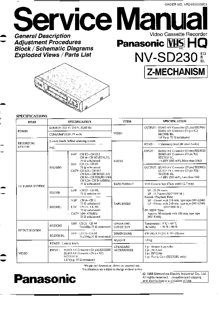 PANASONIC NV-SD230 SM Service Manual download, schematics