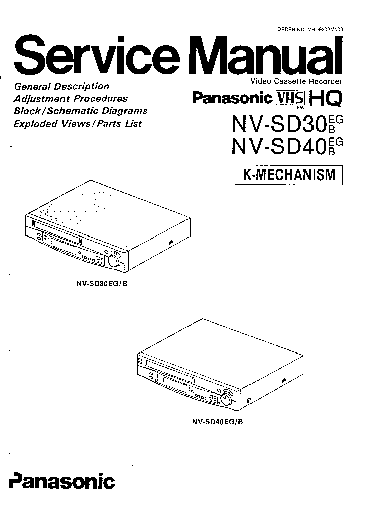 PANASONIC NV-SD30 SD40 SM Service Manual download