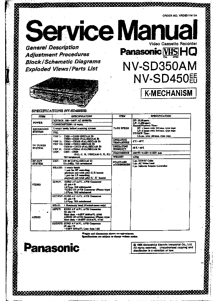 PANASONIC DMR-EX75 DMR-EX85 SM Service Manual download, schematics, eeprom, repair info for