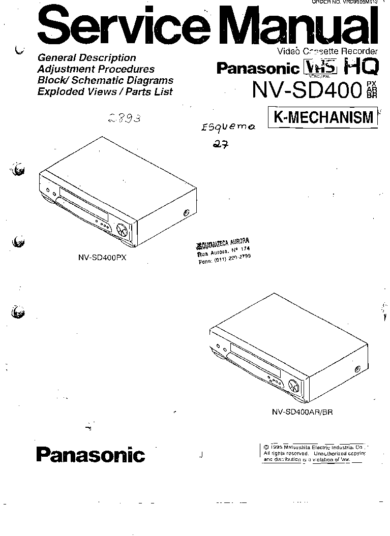 PANASONIC NV-SD400 Service Manual download, schematics