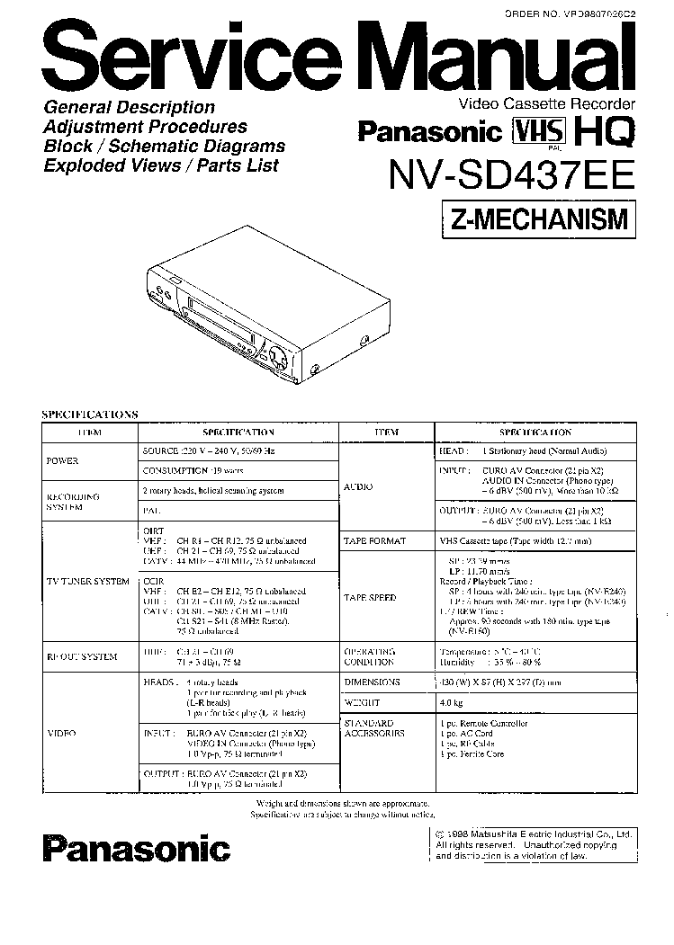 PANASONIC NV-SD437EE SM Service Manual download