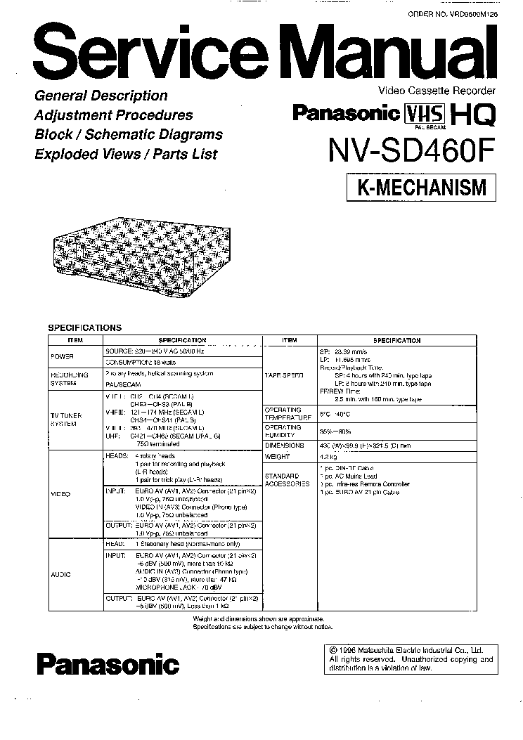 PANASONIC NV-SD460F SM Service Manual download, schematics