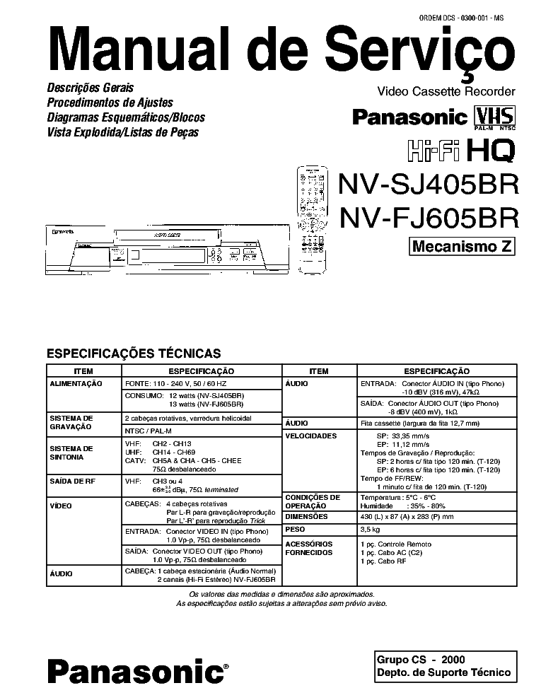 PANASONIC NV-SJ405BR FJ605BR Service Manual download
