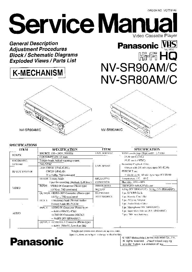 PANASONIC AG-7650 AG-7750 Service Manual free download