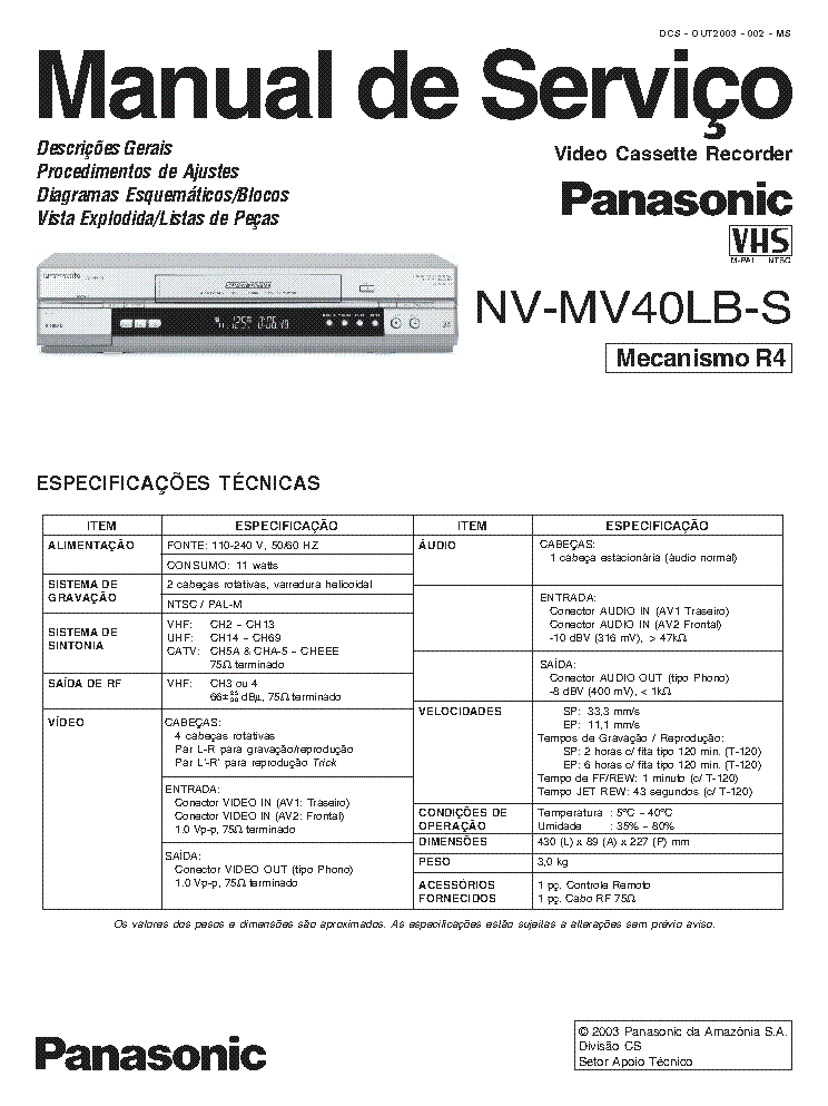 PANASONIC NV MV 40 Service Manual download, schematics