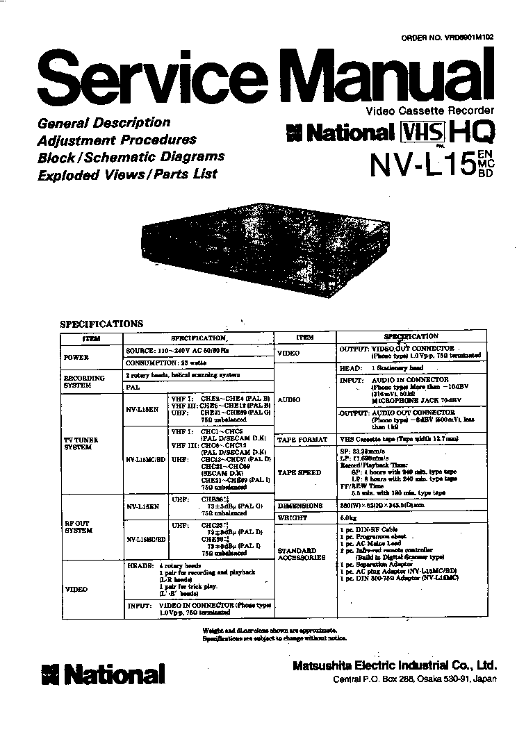 PANASONIC NV-J45 Service Manual free download, schematics