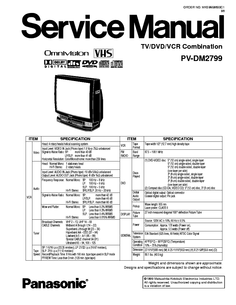 PANASONIC TV-DVD-VCR-PV-DM2799 Service Manual download