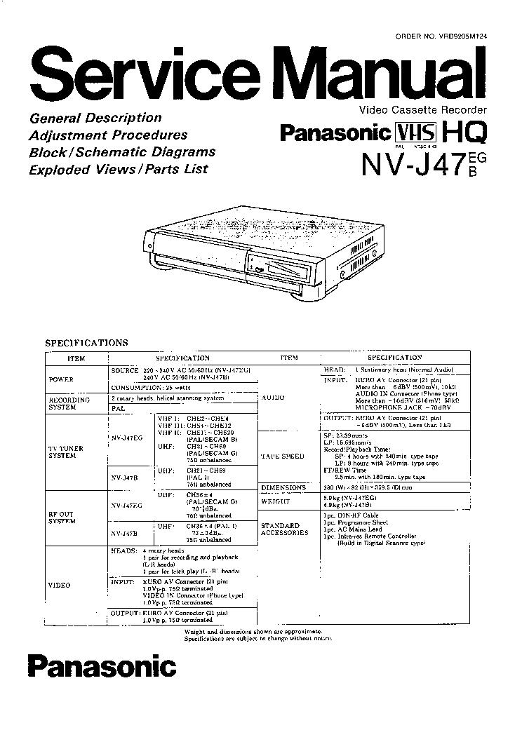 PANASONIC VCR NV-J47EG-B SERVICE MANUAL Service Manual