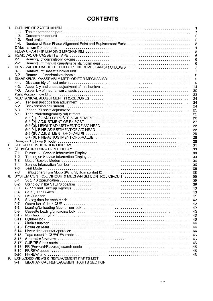 PANASONIC Z-MECHANISM REV-1 SM Service Manual download