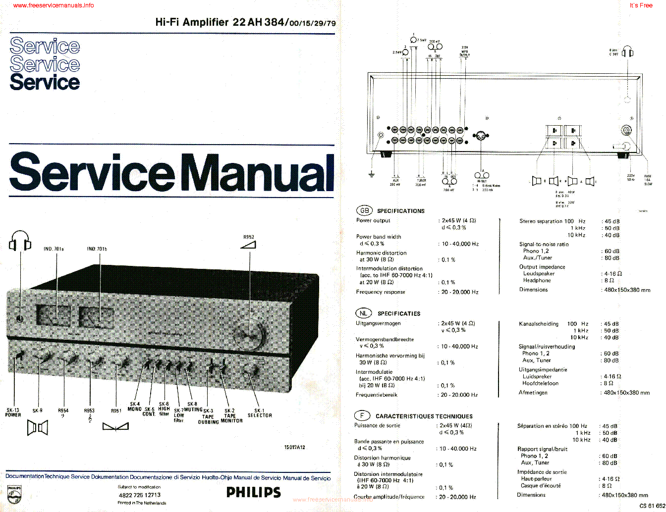 PHILIPS 22AH384 SCH Service Manual download, schematics