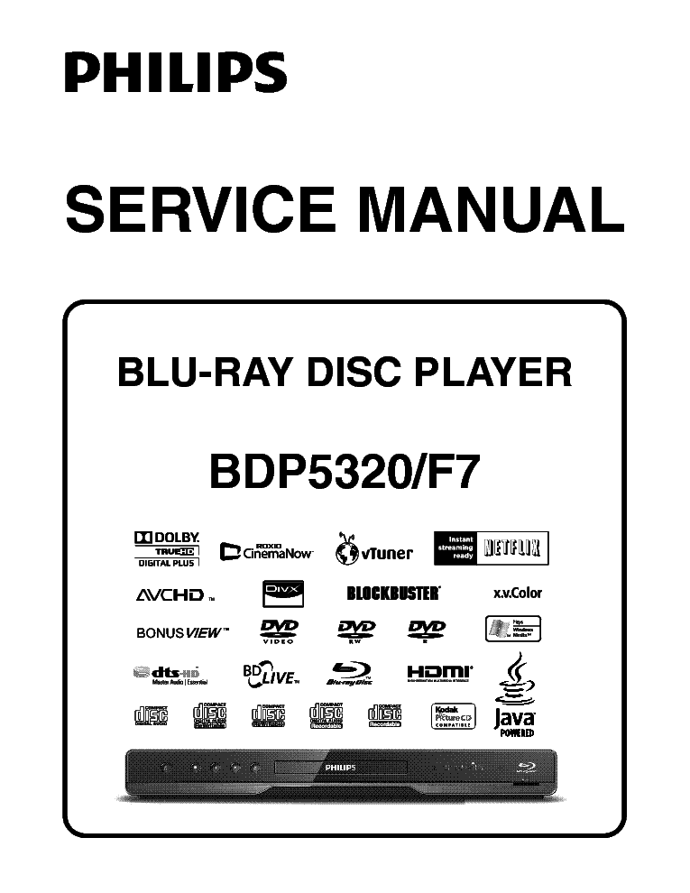 PHILIPS BDP-5320 F7 SM Service Manual download, schematics