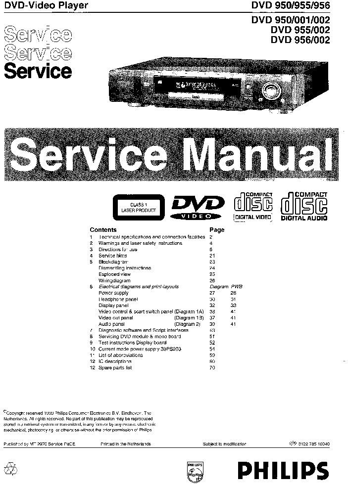 PHILIPS HTS-3000-5 SM Service Manual download, schematics