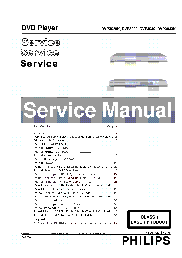 PHILIPS DVP3020 K,3040 K Service Manual download