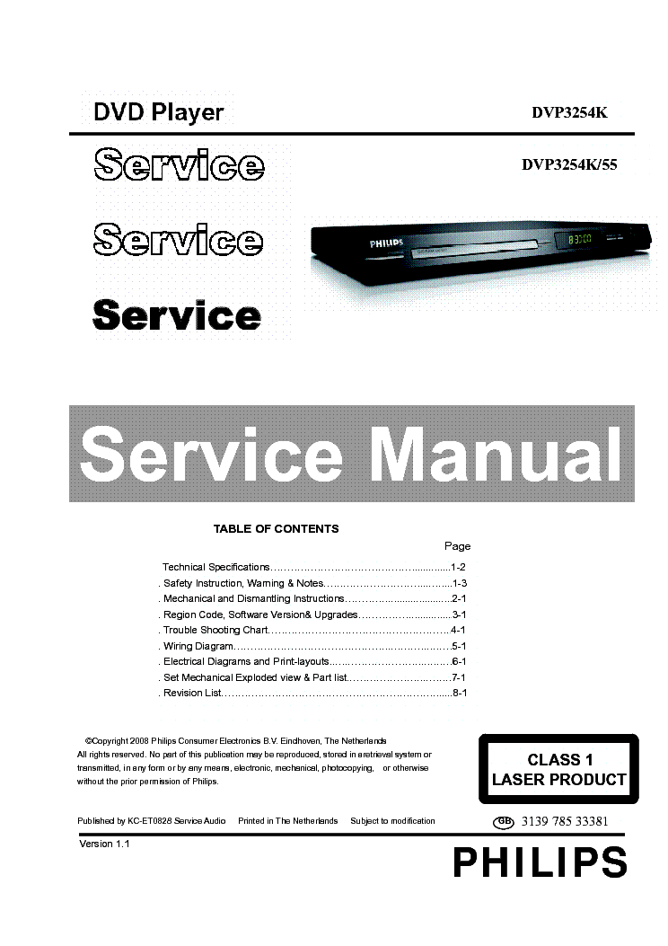 PHILIPS DVP3254K-55 SM Service Manual download, schematics