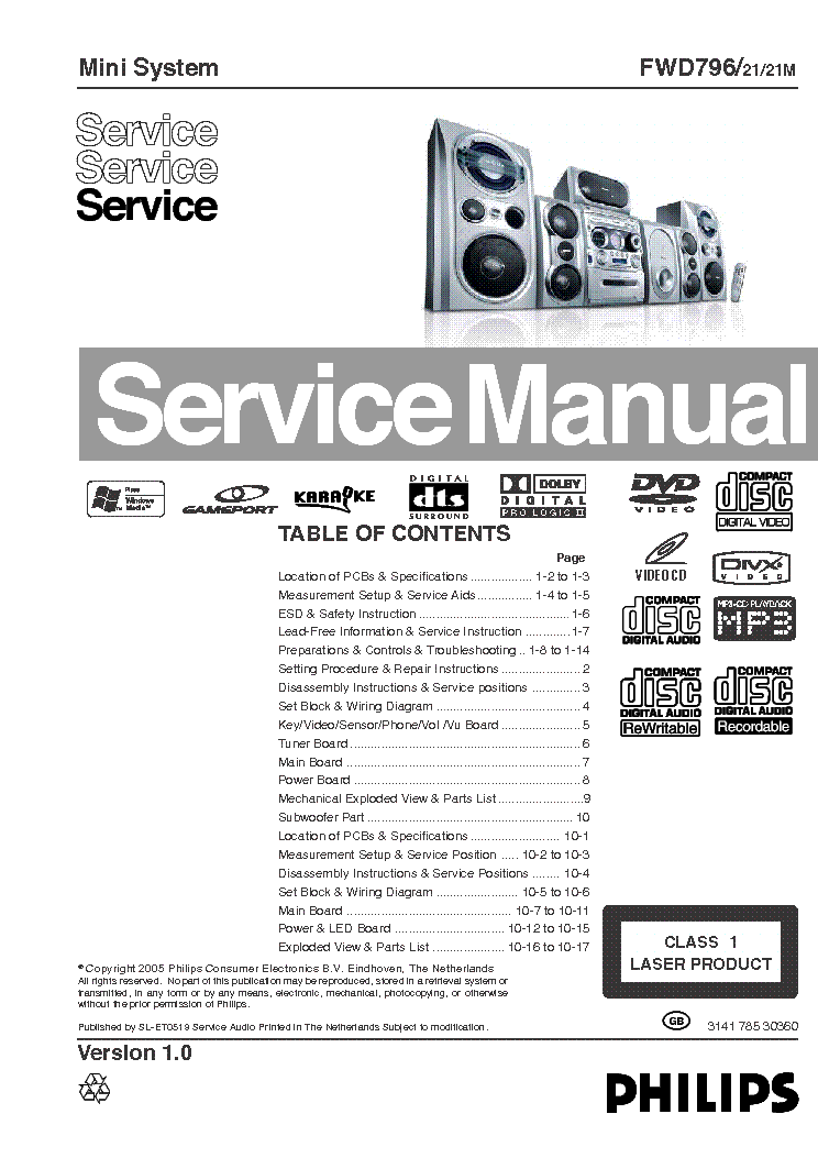 PHILIPS FW-D796 Service Manual download, schematics
