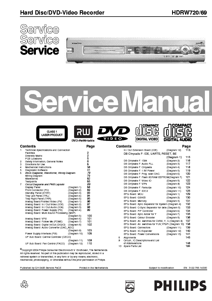 PHILIPS HDRW720-69 DVD VIDEO RECORDER Service Manual