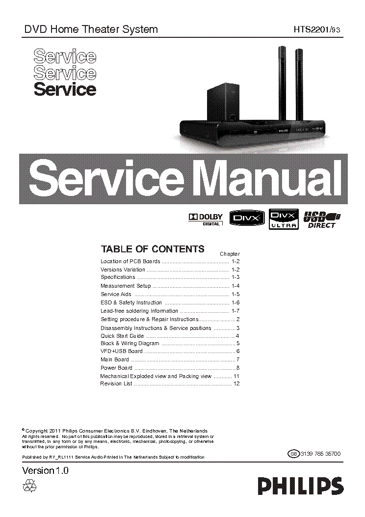 PHILIPS HTS-3000-5 SM Service Manual free download