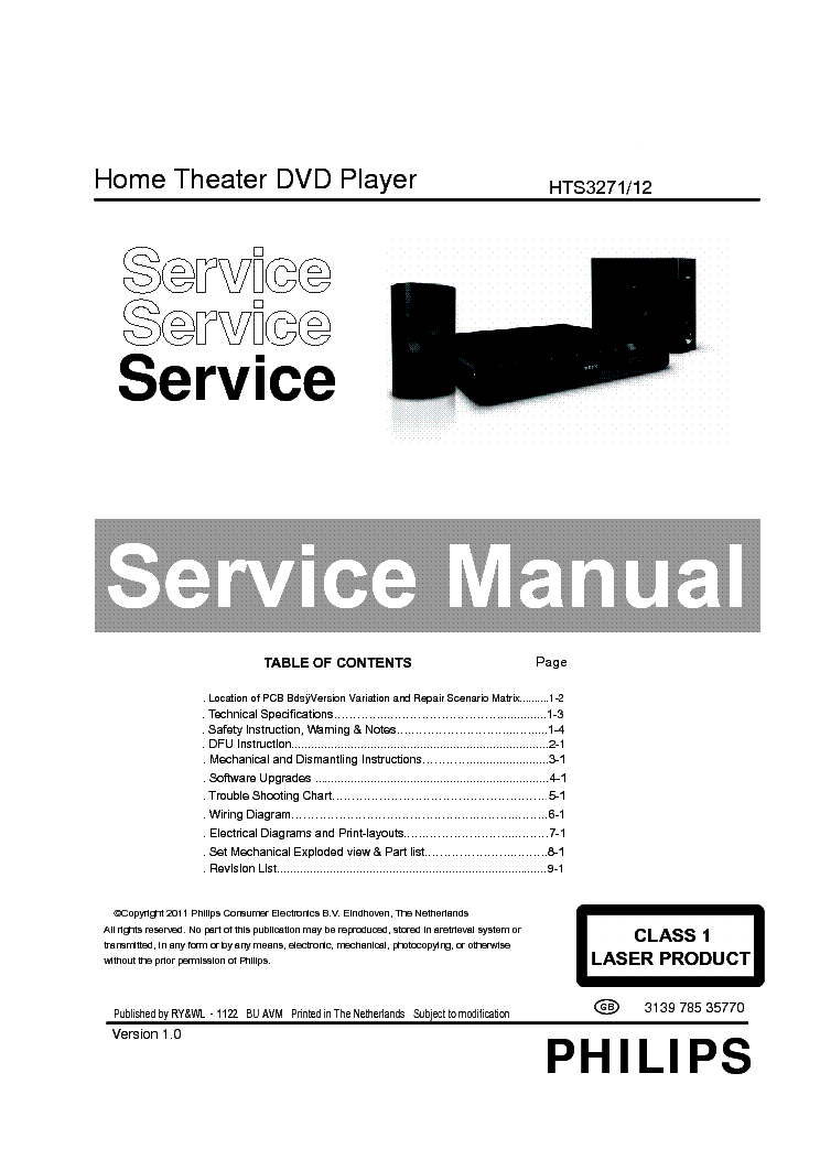 PHILIPS HTS3271 Service Manual free download, schematics