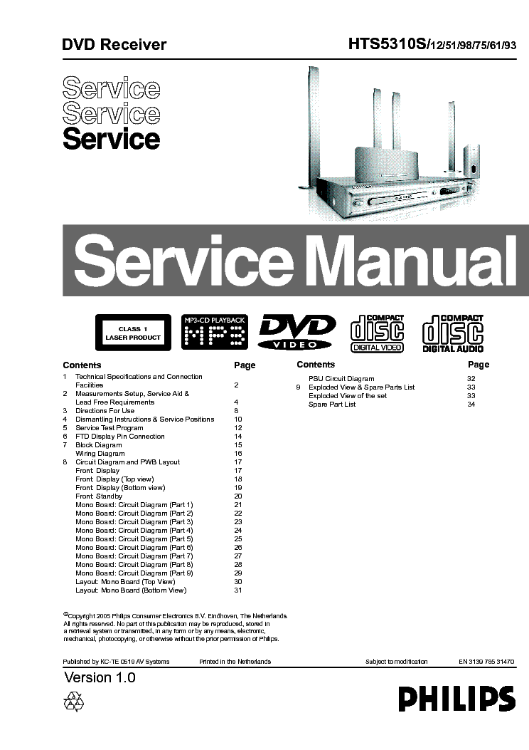 PHILIPS DVDR890 Service Manual download, schematics