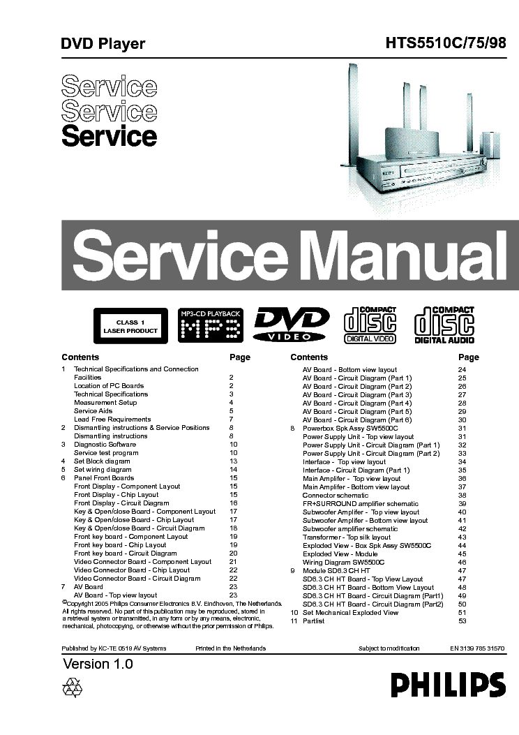 PHILIPS HTS5510C Service Manual download, schematics