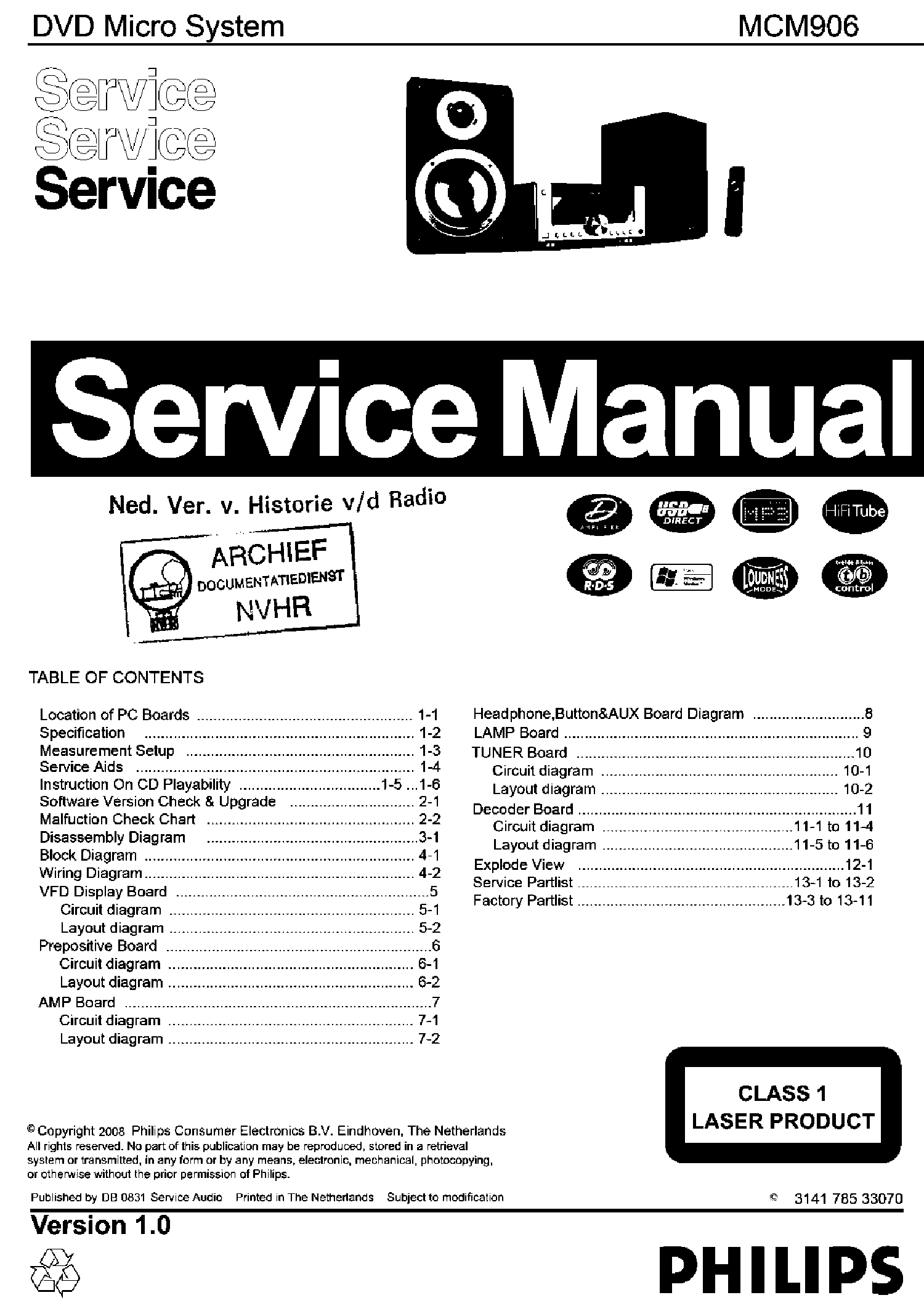 PHILIPS MCD122 SM Service Manual free download, schematics