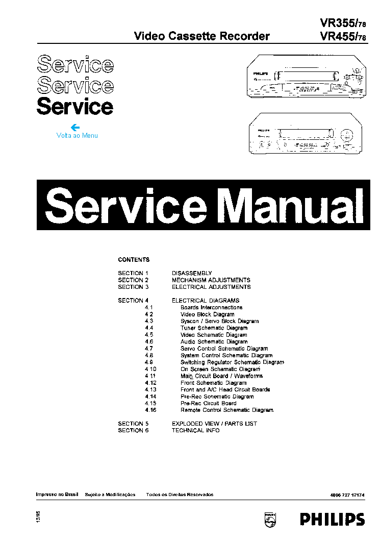 PHILIPS VR550 Service Manual free download, schematics