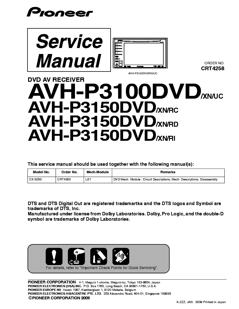 pioneer avh p3100dvd 4 wire resistance measurement method p3150dvd sm service manual download schematics 1st page