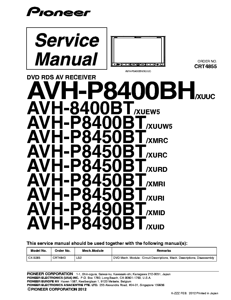 PIONEER AVH-P8400BT HU Service Manual download, schematics