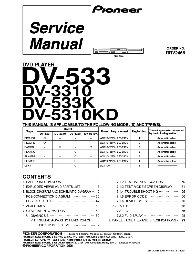 PIONEER DV-533 Service Manual download, schematics, eeprom