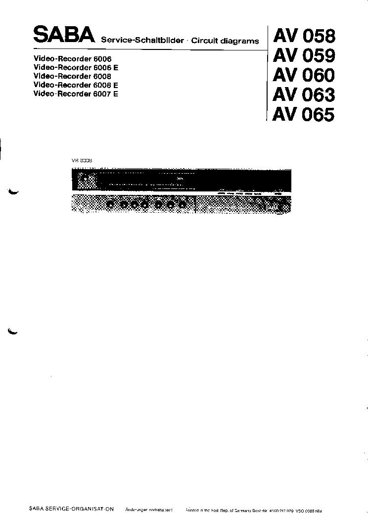 SABA VR-6006 VR-6006E VR-6008 VR-6008E VR-6007E VCR