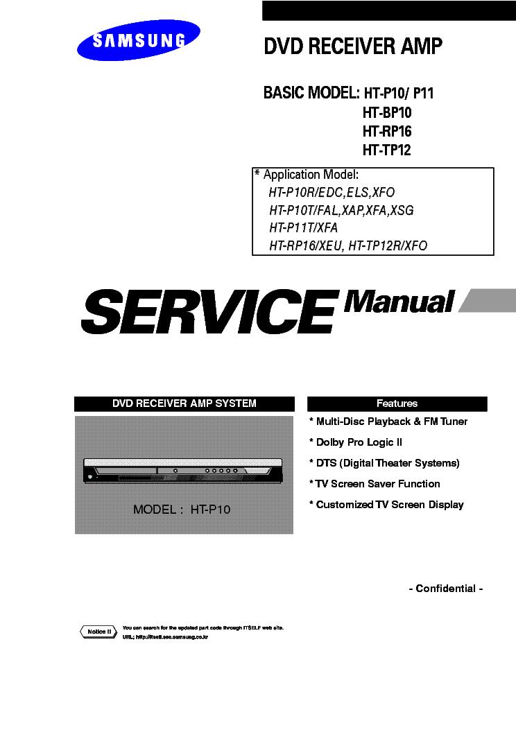 SAMSUNG HT-P10 HT-P11 HT-BP10 HT-RP16 HT-TP12 SM Service