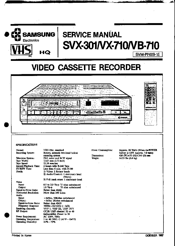 SAMSUNG SVX-301 VX-710 VB-710 VCR Service Manual download