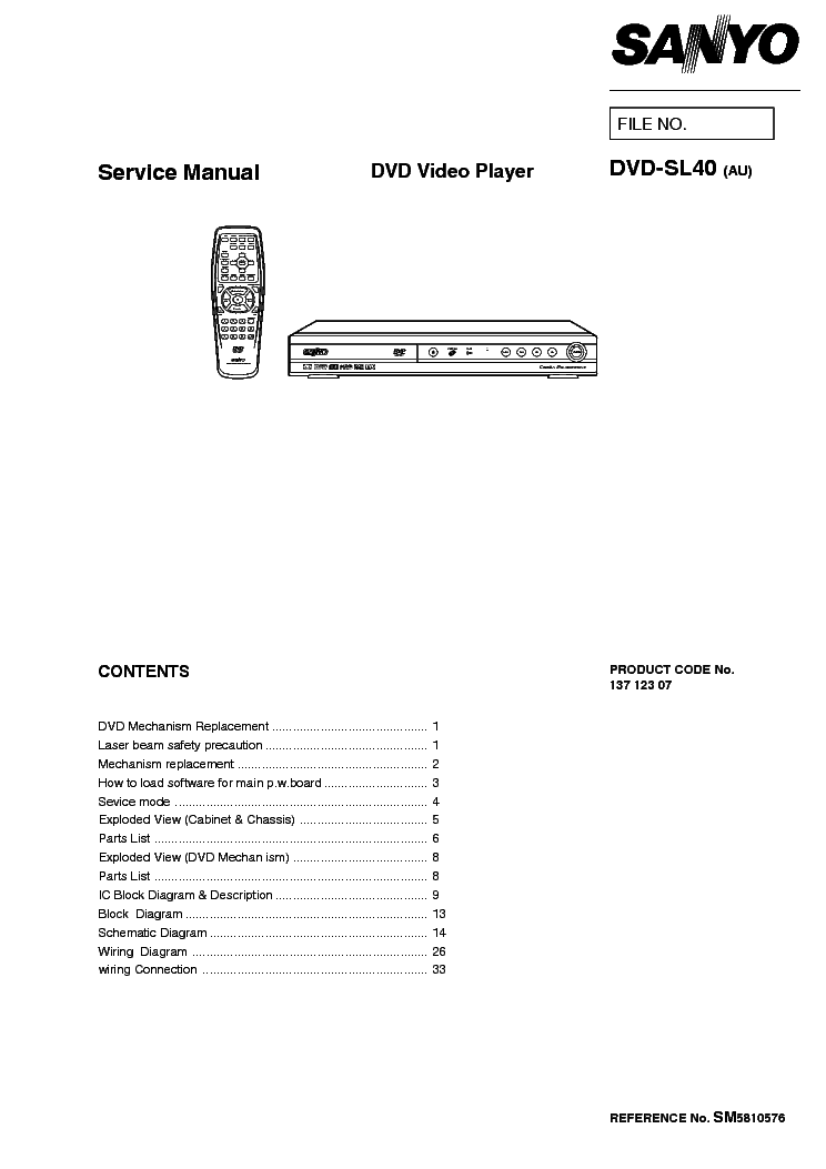 SANYO DVD-SL40 SM Service Manual download, schematics