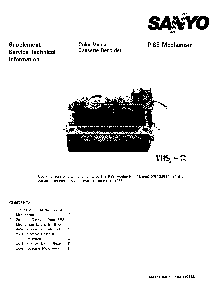 SANYO P89 MECHANISM SM Service Manual download, schematics