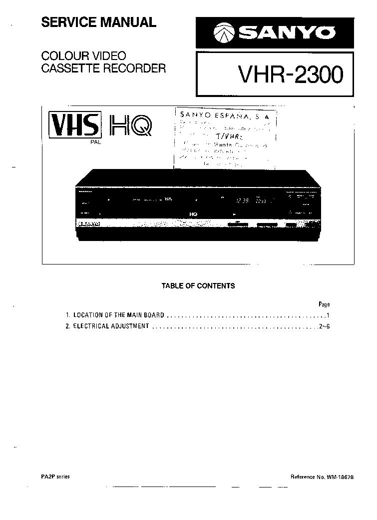 SANYO VHR-2300 Service Manual download, schematics, eeprom