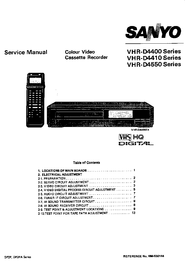 SANYO VHR-D4400 Service Manual download, schematics