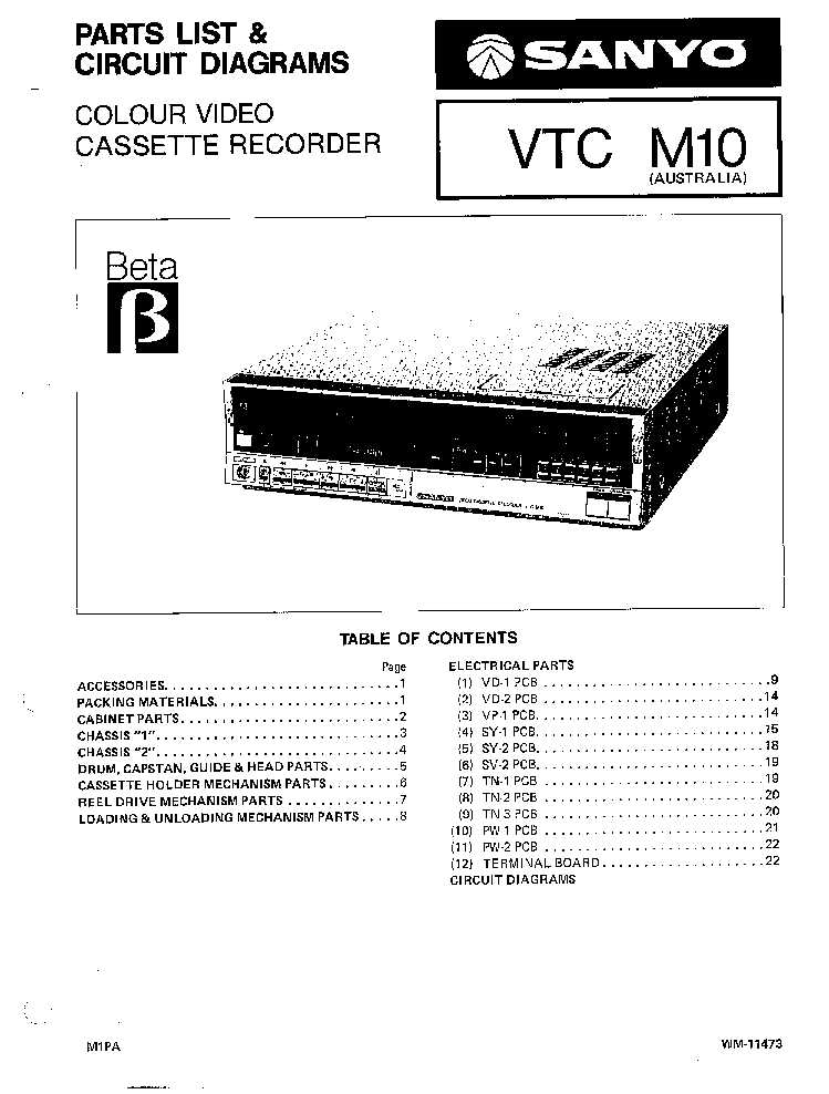 SANYO VTC-M10 BETA VCR Service Manual download, schematics