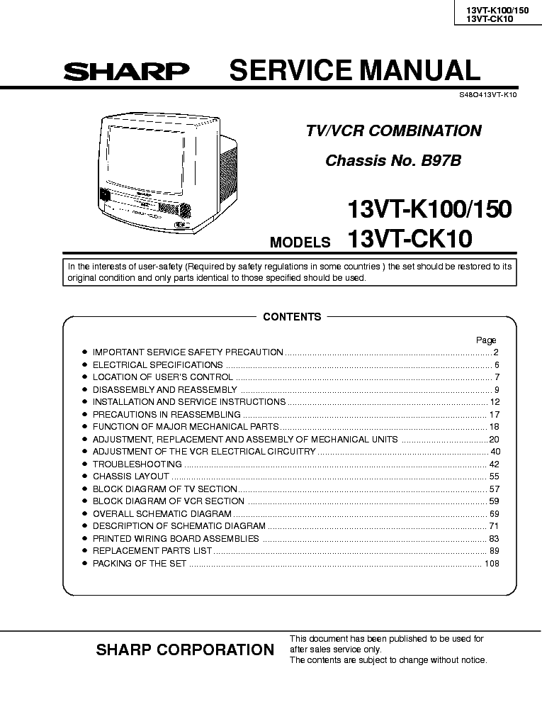 sharp vcr manual