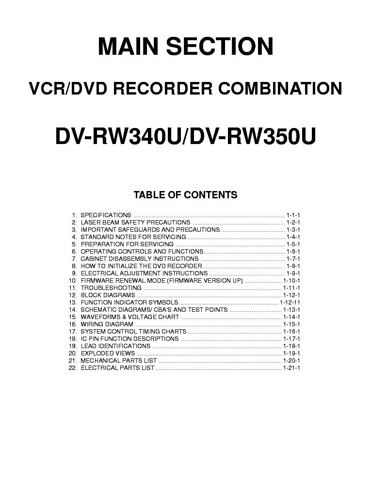 SHARP DVD-VCR-COMBI-DV-RW340-350U Service Manual download
