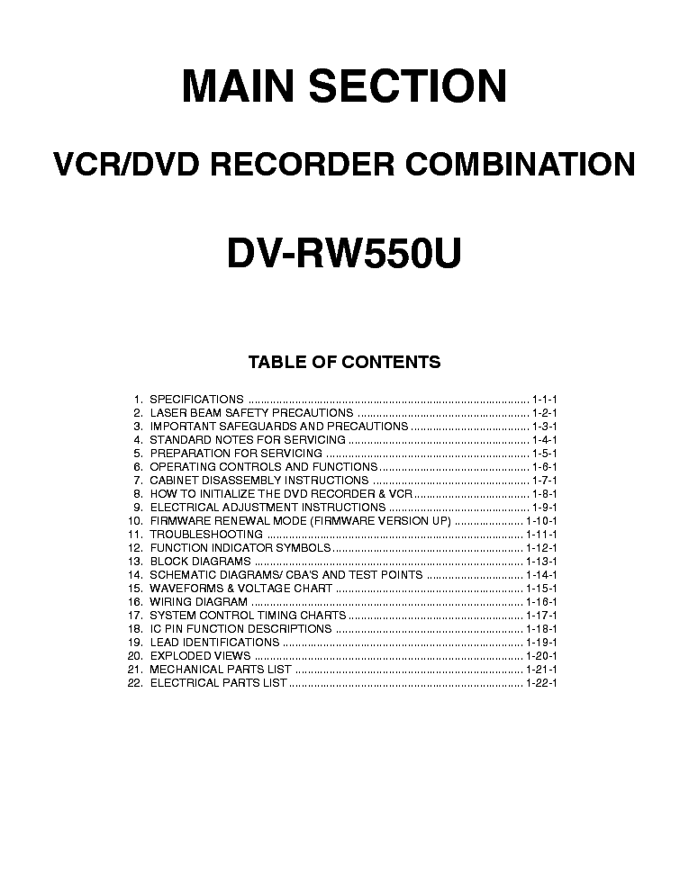 SHARP DVD-VCR-COMBI-DV-RW550U Service Manual download