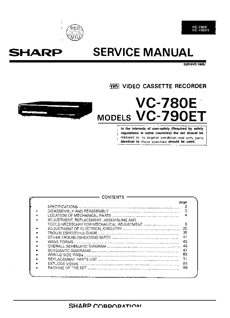 SHARP VC-780E 790E Service Manual download, schematics