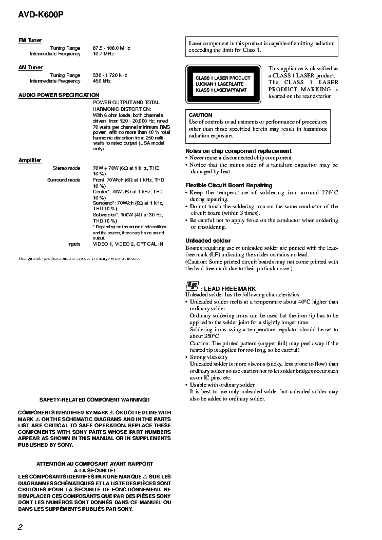 SONY AVD-K600P VER.1.2 Service Manual download, schematics
