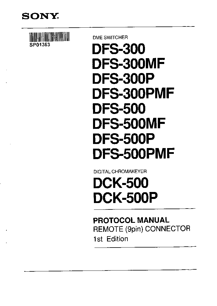 SONY DFS500 UM V1.PDF Service Manual download, schematics