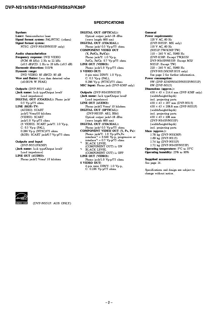 SONY DVP-NS15 NS51P NS43P NS53P K56P Service Manual