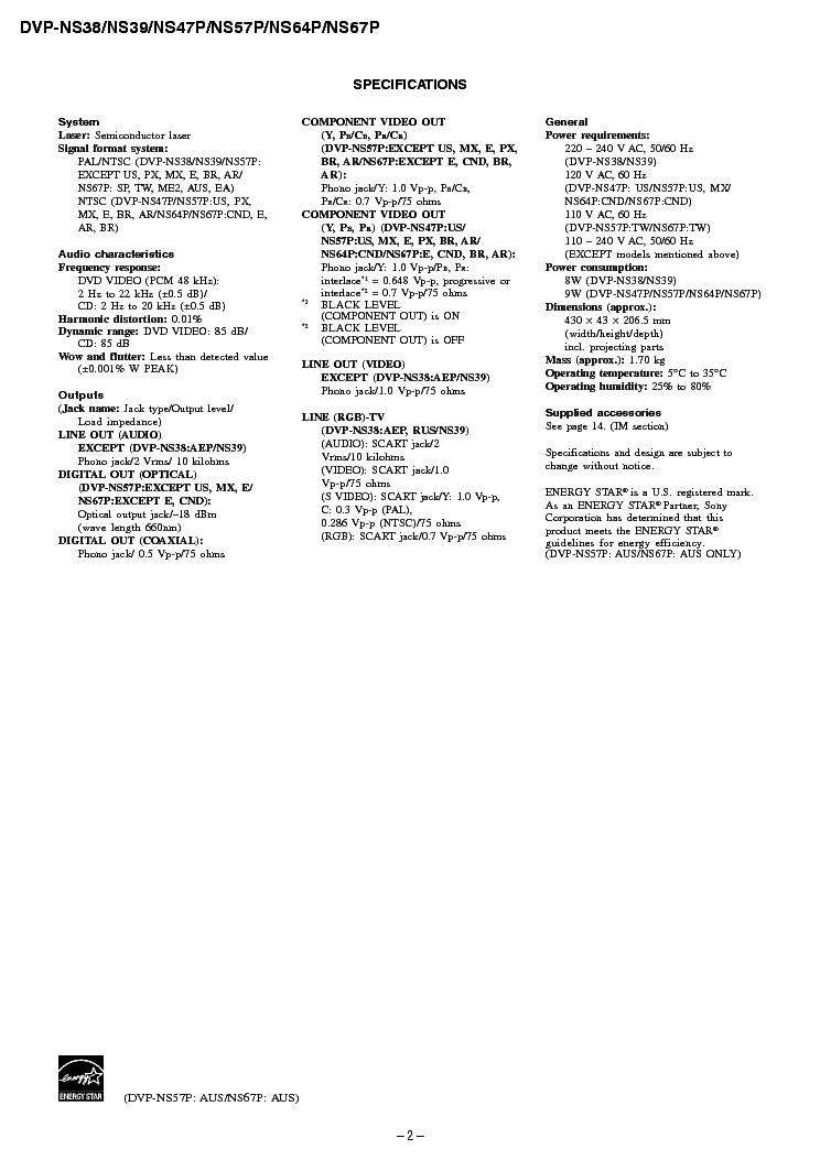 SONY DVP-NS38NS 39NS47P NS57P NS64P NS67P Service Manual