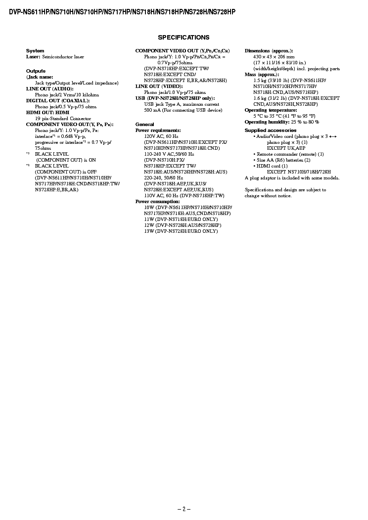SONY DVP-NS611 NS7110 NS717 NS718 NS728 SM Service Manual