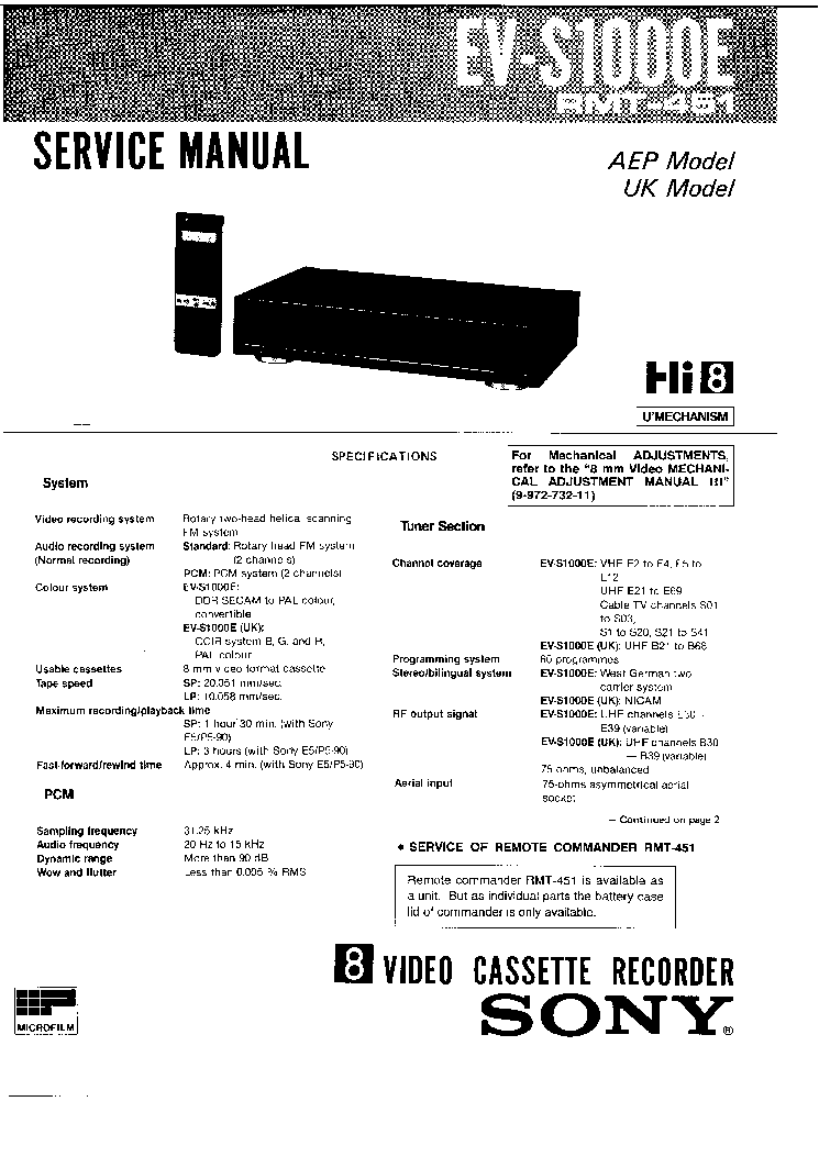 SONY EV-S1000E Service Manual download, schematics, eeprom