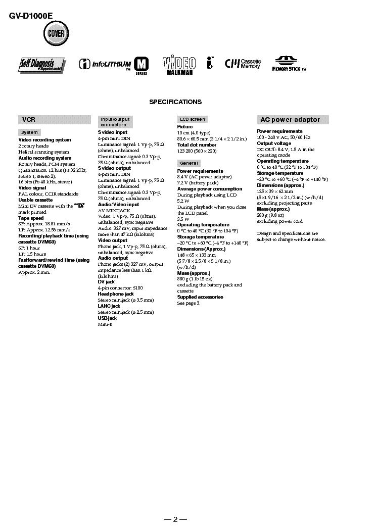 SONY GV-D1000E LEVEL 1 VER1.0 Service Manual download