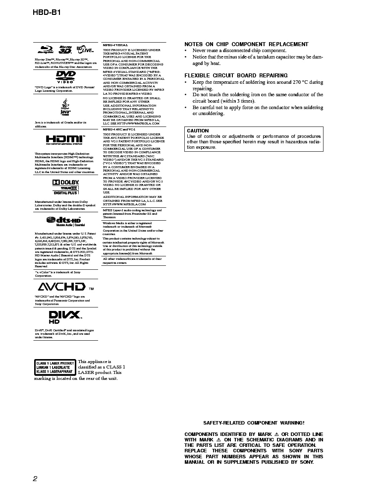SONY HBD-B1 VER.1.0 BLU-RAY RECEIVER Service Manual